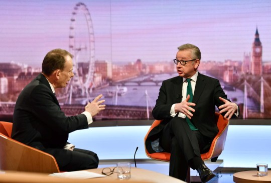 Britain's environment minister Michael Gove appears on BBC TV's The Andrew Marr Show in London, Britain February 24, 2019. Jeff Overs/BBC/Handout via REUTERS. THIS IMAGE HAS BEEN SUPPLIED BY A THIRD PARTY. NO RESALES. NO ARCHIVES. NOT FOR USE MORE THAN 21 DAYS AFTER ISSUE.