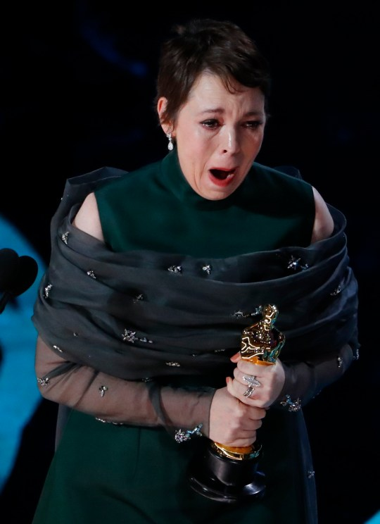 "91st Academy Awards - Oscars Show - Hollywood, Los Angeles, California, U.S., February 24, 2019. Olivia Colman accepts the Best Actress award for her role in ""The Favourite."" REUTERS/Mike Blake"