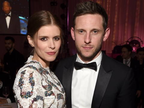 Kate Mara shows off baby bump alongside husband Jamie Bell at Elton John's annual Oscars party