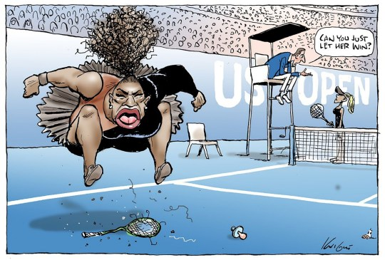 "Caption: This handout obtained on September 11, 2018 from the Herald Sun shows a cartoon published on September 10 of US tennis player Serena Williams in the controversial final of the US Open women's singles final. - An Australian cartoonist has come under withering criticism for portraying tennis superstar Serena Williams using -- what Harry Potter author JK Rowling described as -- ""racist and sexist tropes"". Mark Knight's caricature, published in Melbourne's Herald Sun newspaper on September 10, shows a butch and fat-lipped Williams jumping up and down on her broken racquet at the US Open. (Photo by Mark KNIGHT / HERALD SUN / AFP) / --EDITORS NOTE --- ONE TIME USE --RESTRICTED TO EDITORIAL USE -- MANDATORY CREDIT ""AFP PHOTO / MARK KNIGHT / HERALD SUN"" -- NO MARKETING NO ADVERTISING CAMPAIGNS - DISTRIBUTED AS A SERVICE TO CLIENTS - NO ARCHIVES -- TO BE USED EXCLUSIVELY FOR AFP STORY TENNIS-OPEN-USA-WILLIAMS-MEDIA -- MANDATORY LINK TO STORY https://www.heraldsun.com.au/news/victoria/herald-sun-backs-mark-knights-cartoon-on-serena-williams/news-story/30c877e3937a510d64609d89ac521d9f / MARK KNIGHT/AFP/Getty Images Photographer: MARK KNIGHT Provider: AFP/Getty Images Source: AFP"