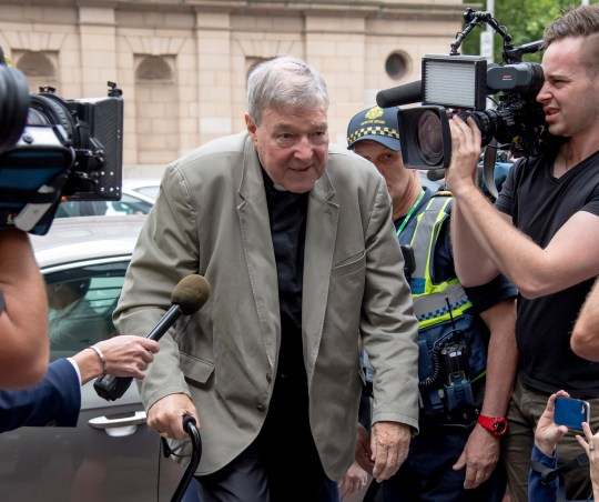 Cardinal George Pell arrives at the County Court in Melbourne, Australia, Tuesday, Feb. 26, 2019. The most senior Catholic cleric ever charged with child sex abuse has been convicted of molesting two choirboys moments after celebrating Mass, dealing a new blow to the Catholic hierarchy's credibility after a year of global revelations of abuse and cover-up. (AP Photo/Andy Brownbill)