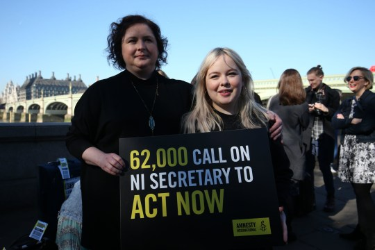 Derry Girls cast members Siobhan McSweeney and Nicola Coughlan (right) join MPS and women impacted by Northern Ireland's strict abortion laws on Westminster Bridge in London to demand legislative change. PRESS ASSOCIATION Photo. Picture date: Tuesday February 26, 2019. Photo credit should read: Jonathan Brady /PA Wire