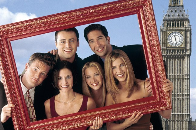 FRIENDS -- Pictured: (clockwise from left) Matthew Perry as Chandler Bing, Matt Le Blank as Joey Tribbiani, David Schwimmer as Ross Geller, Jennifer Aniston as Rachel Green, Lisa Kudrow as Phoebe Buffay, Courteney Cox as Monica Geller -- Photo by: David Bjerke/NBCU Photo Bank