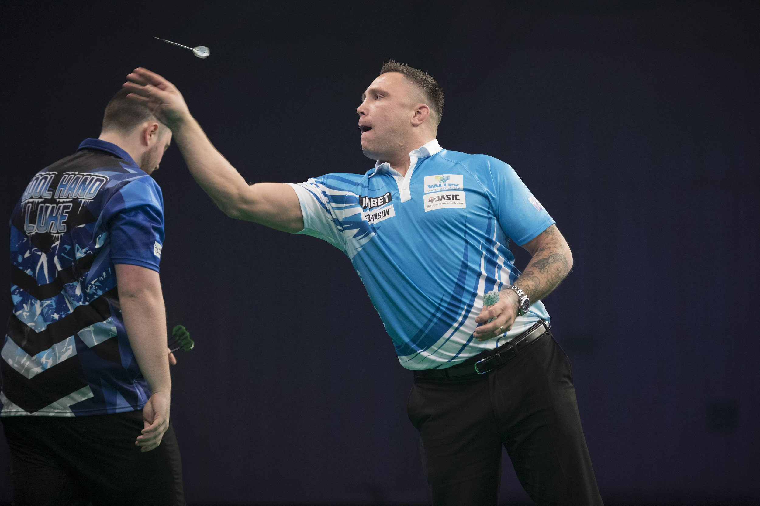 UNIBET PREMIER LEAGUE 2019 WESTPOINT ARENA EXETER PIC LAWRENCE LUSTIG LUKE HUMPHRIES V GERWYN PRICE GERWYN PRICE IN ACTION