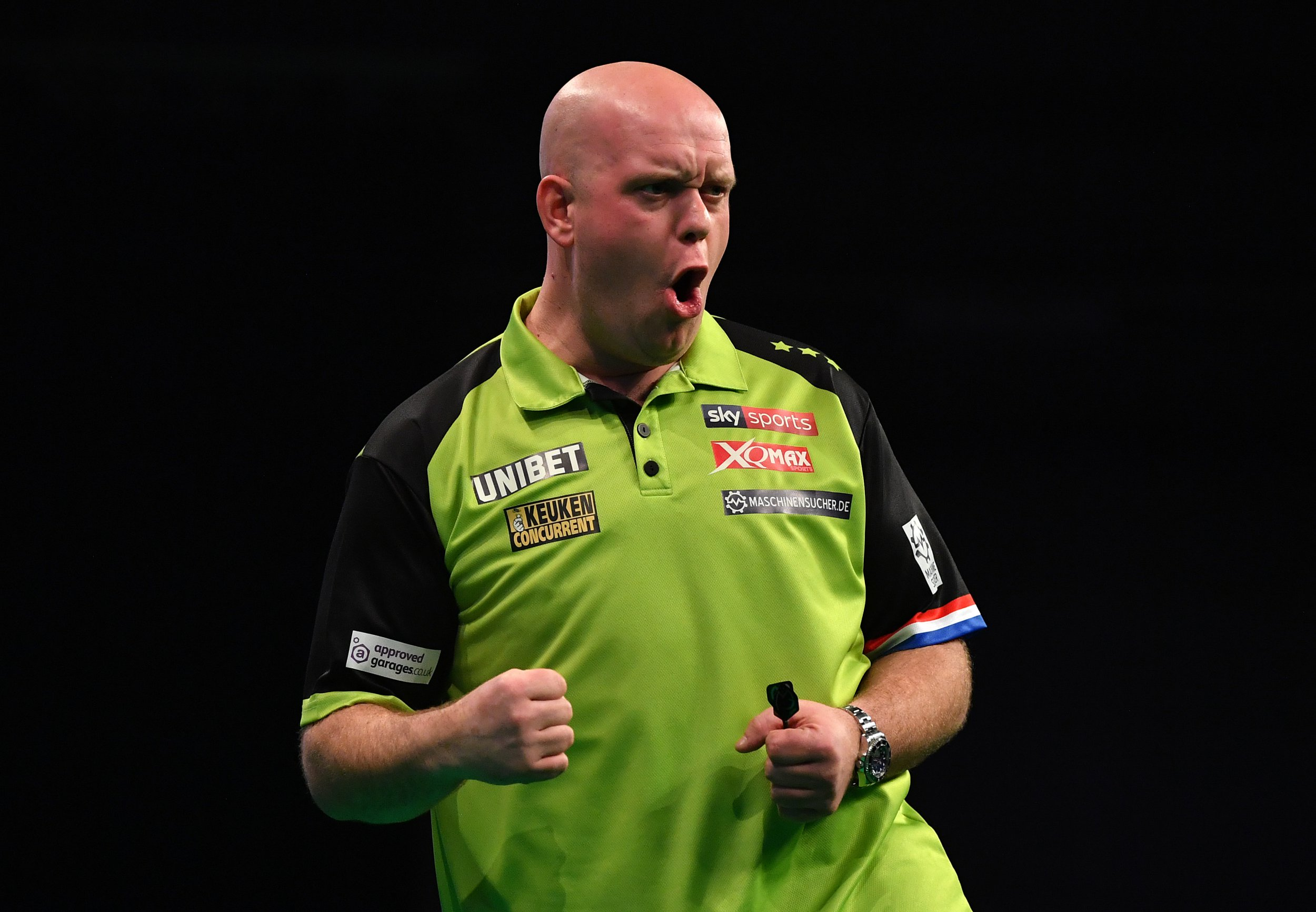 EXETER, ENGLAND - FEBRUARY 28: Michael van Gerwen of the Netherlands reacts against James Wade of Englnd during the 2019 Unibet Premier League Darts at Westpoint Arena on February 28, 2019 in Exeter, England. (Photo by Dan Mullan/Getty Images)