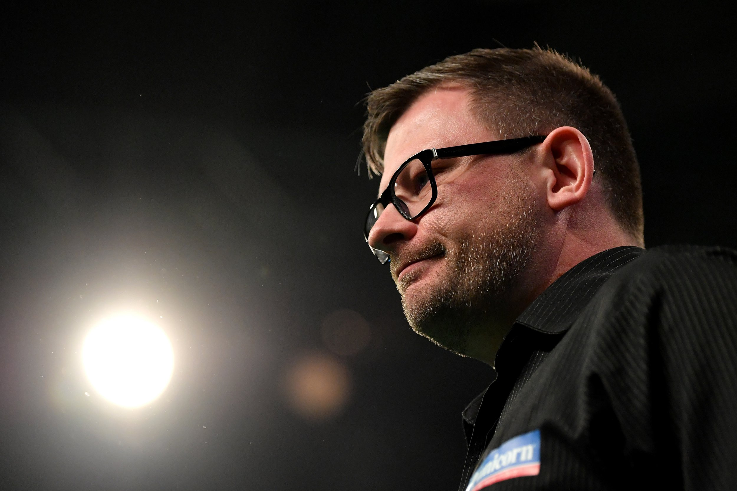 EXETER, ENGLAND - FEBRUARY 28: James Wade of England reacts against Michael van Gerwen of the Netherlands during the 2019 Unibet Premier League Darts at Westpoint Arena on February 28, 2019 in Exeter, England. (Photo by Dan Mullan/Getty Images)