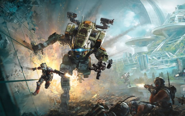 A Mech warrior running and a Soldier pakouring on a wall next to the Mech in Titanfall 2
