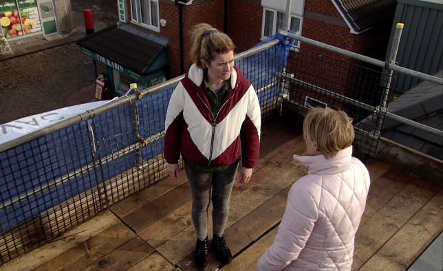 Sally and Gina argue on Underworld's roof in Coronation Street
