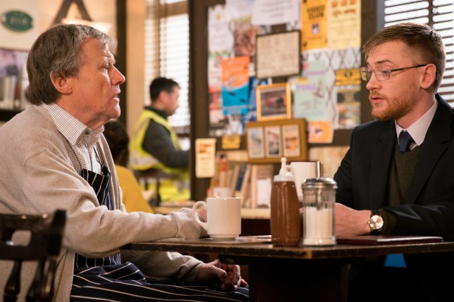 Wayne helps Roy with the ring in Coronation Street