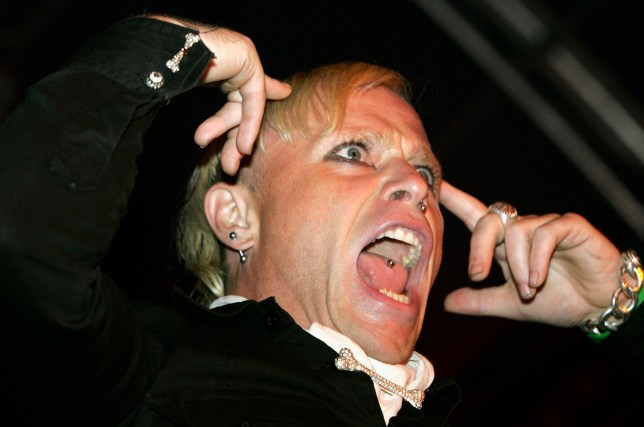Keith Flint of The Prodigy performs at the Grolsch Summer Set at Somerset House on August 6, 2005 in London, England. (Photo by Jo Hale/Getty Images)