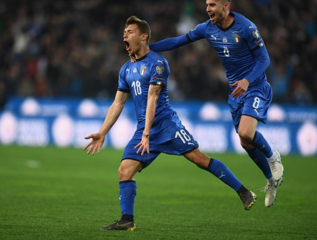 GettyImages-1132291670 Chelsea transfer target Nicolo Barella scores in front of Arsenal scouts