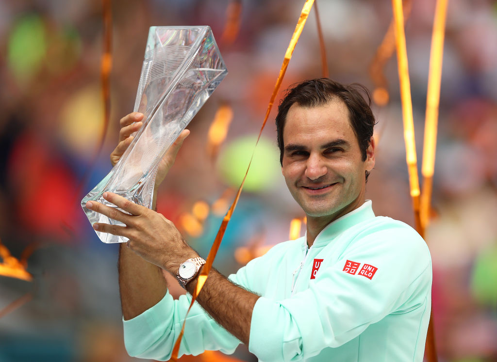 Roger Federer reacts to winning Miami Open with thumping John Isner victory