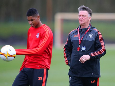 Marcus Rashford reacts to former Man Utd manager Louis van Gaal's retirement news