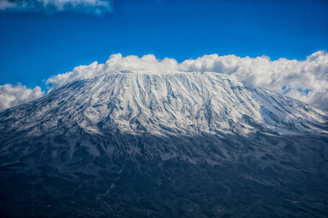 Clouds around Mount Kilimanjaro in Africa