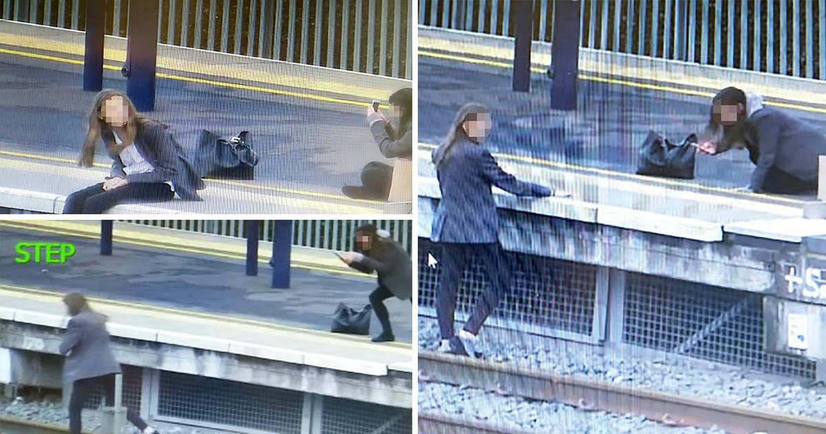 Girls risk their lives to take selfies on tracks at railway station
