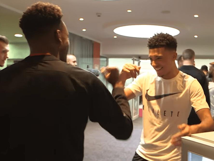 Jadon Sancho greets Callum Hudson-Odoi as he's called up to England senior squad