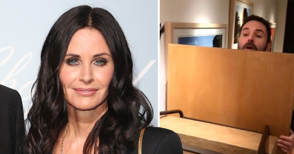 Courteney Cox recreates iconic Friends 'pivot' scene with her own helpers