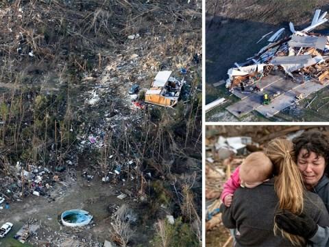 Aerial pictures reveal devastation left behind after deadly tornadoes swept through Alabama