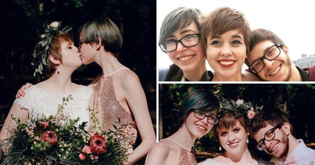 Polyamorous bride introduces girlfriend to husband on wedding day