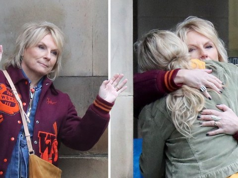 Jennifer Saunders beams as she films new Netflix thriller The Stranger