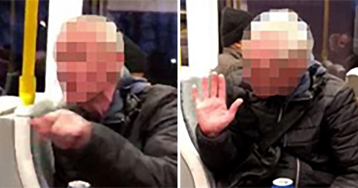 Tram passengers confront cider-guzzling yob over vile racist rant