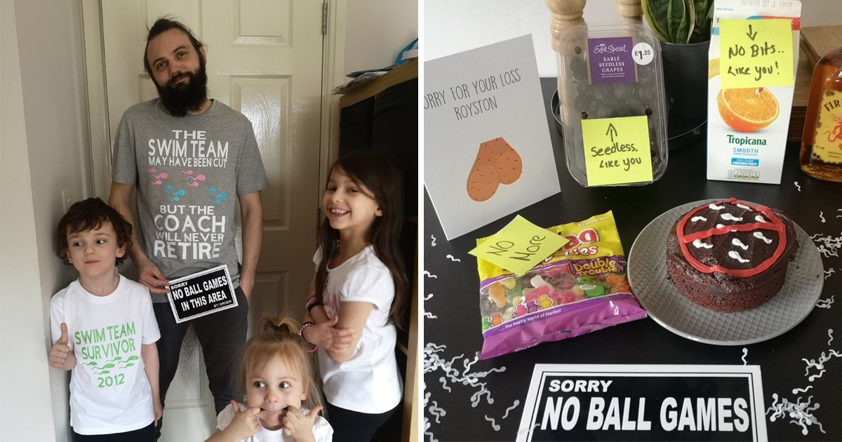 Mum bids 'balls voyage' to husband's sperm by throwing him vasectomy party