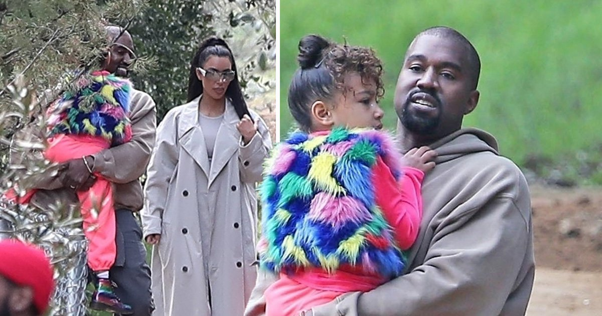 North West is over walking as dad Kanye carries her into star-studded church service