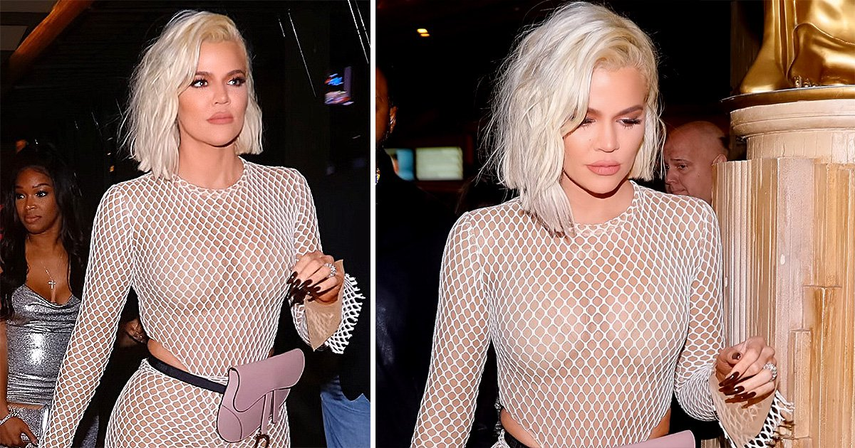 Khloe Kardashian shows Tristan Thompson what he's missing in fishnet catsuit