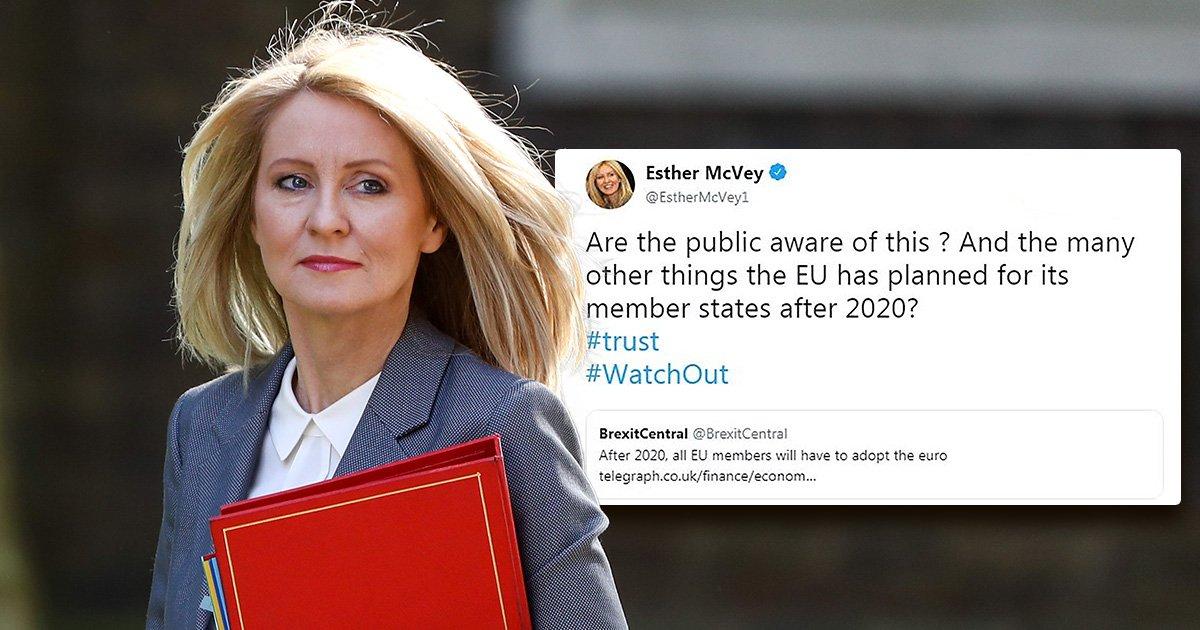 Esther McVey blasted on Twitter for false Brexit tweet