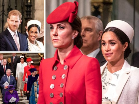 Meghan and Kate exchange kisses at royal Commonwealth Day service
