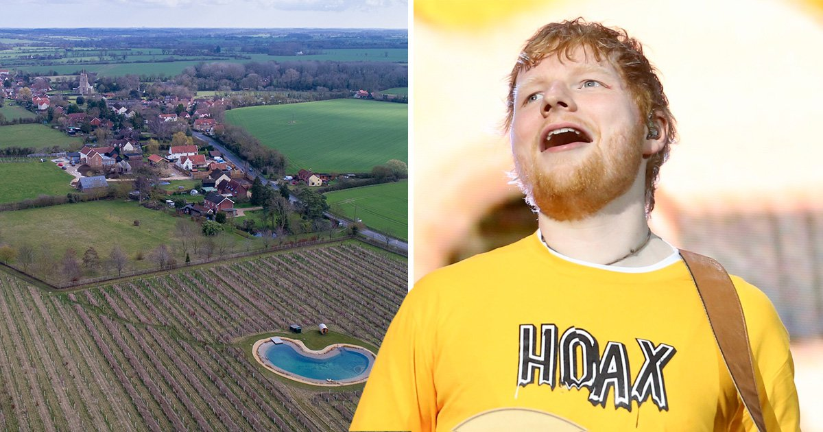 Ed Sheeran's 'wildlife pond' angers neighbours who claim it's a swimming pool
