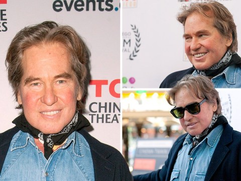 Val Kilmer puts on energetic performance as he hides a trachea scar after cancer surgery