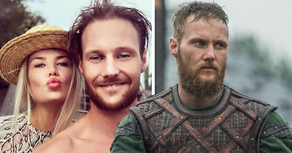 Vikings co-stars Jordan Patrick Smith and Sophie Vavasseur reunite for 'kissing day'