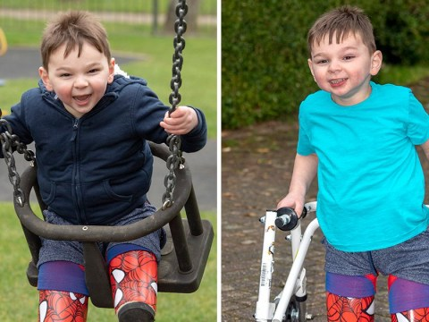 Boy who lost his legs after being tortured by parents takes first steps
