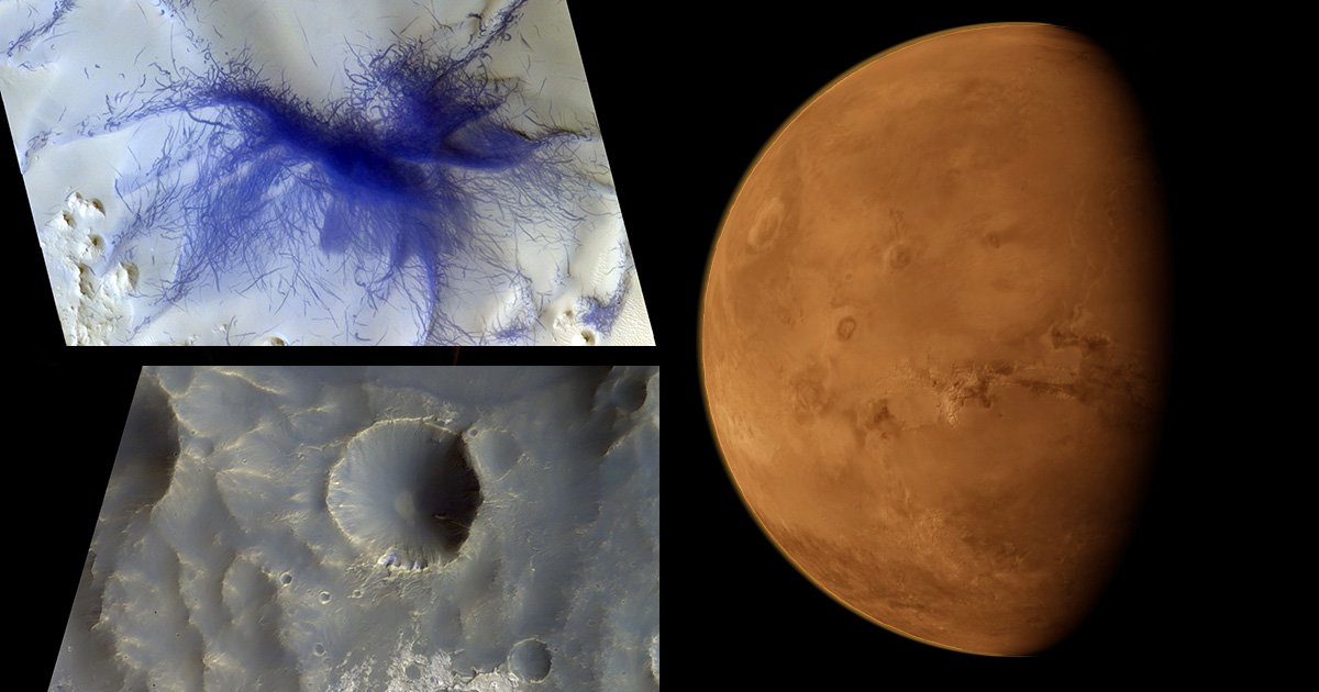 Spacecraft orbiting Mars spots 'hairy blue spider' on the surface