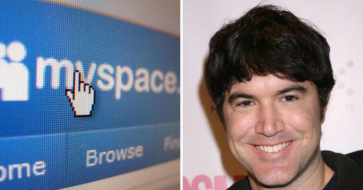 Myspace header on its website and a picture of Tom Anderson, known as Myspace Tom