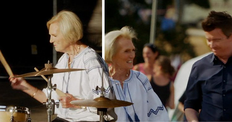 Rick Astley teaching Mary Berry to play the drums leaves Quick Cooking viewers in hysterics