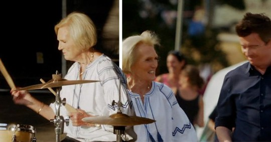 Mary Berry playing the drums with Rick Astley leaves viewers