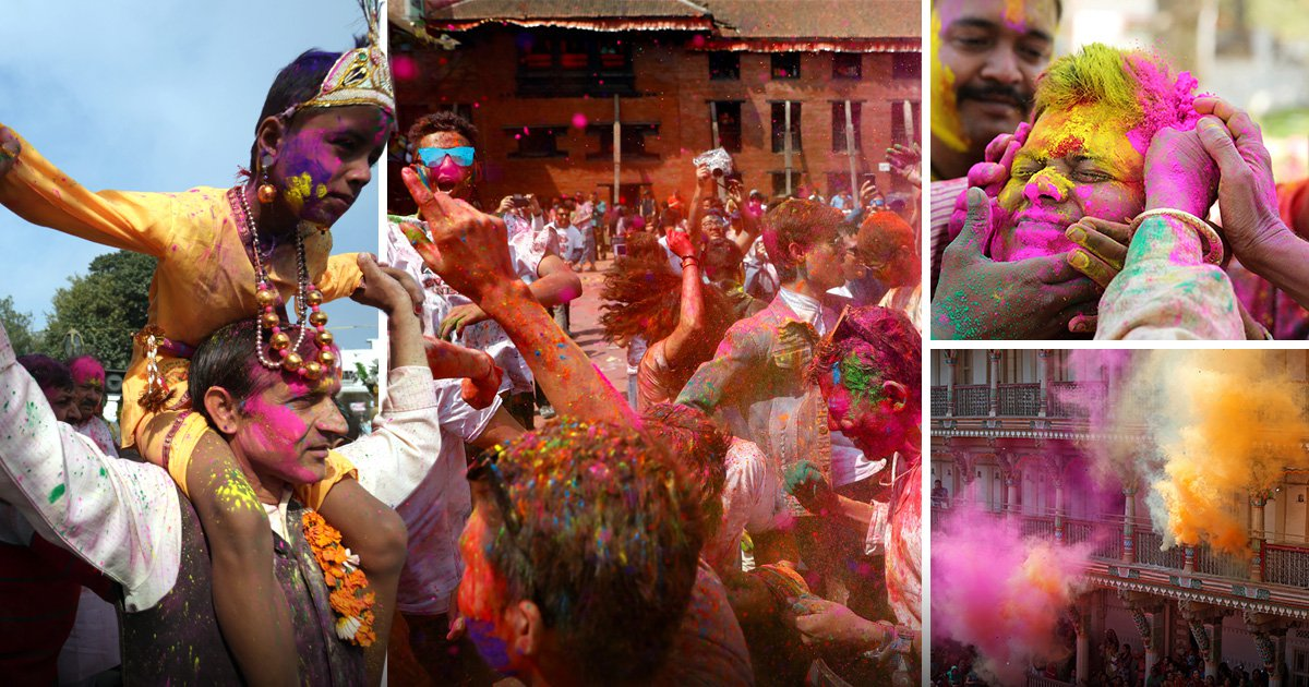 Explosion of colour during Holi festival as thousands fight with dye