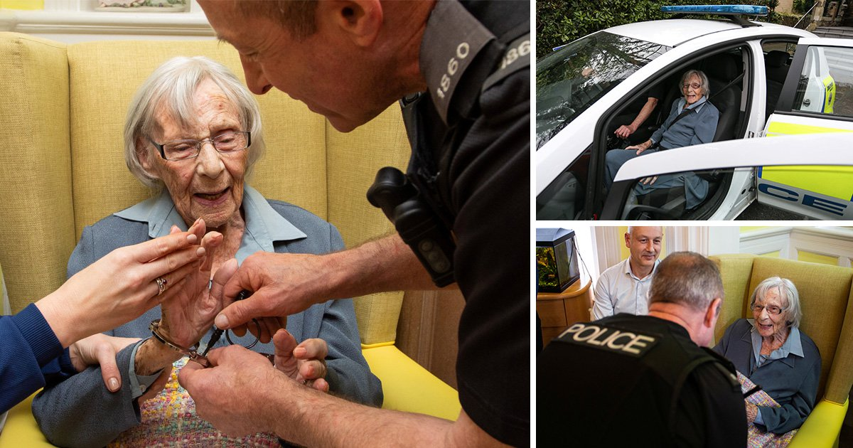 Pensioner, 104, fulfils life-long wish as she's arrested