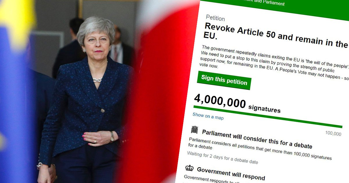 Revoke Article 50 petition to stop Brexit hits 4,000,000 signatures