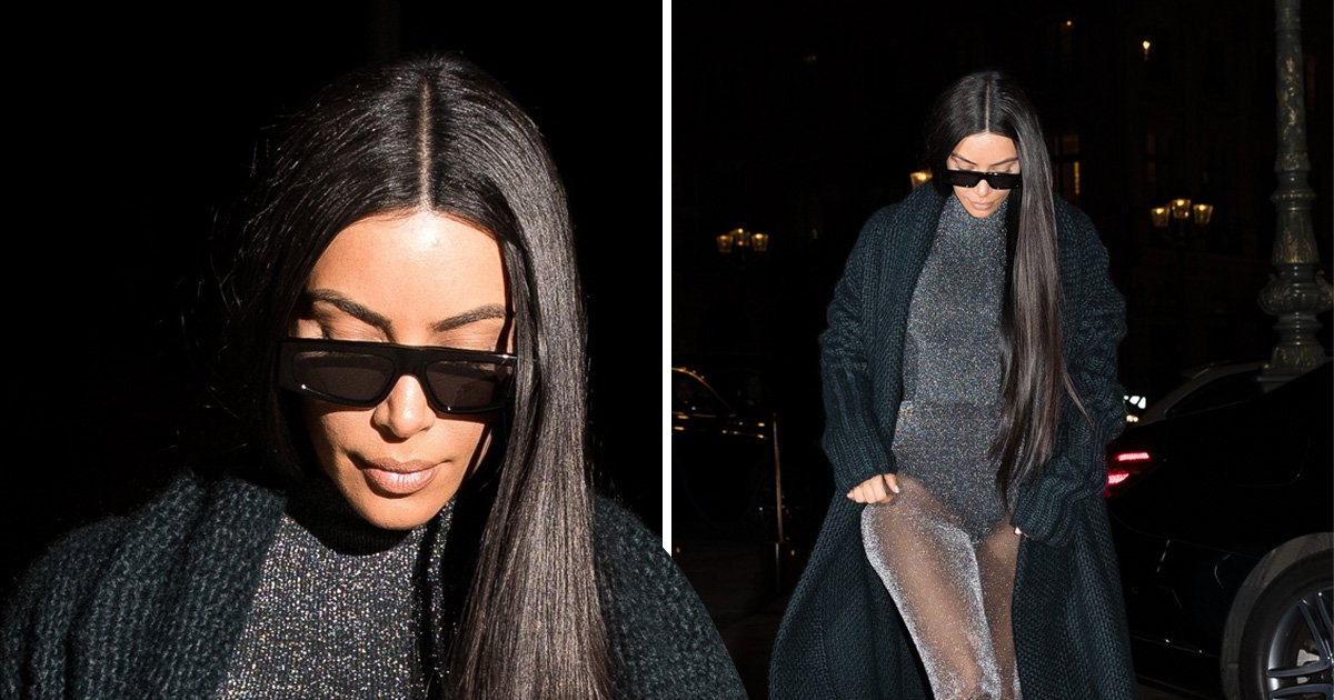 Kim Kardashian cares not for comfort as she rocks shiny, sheer bodysuit in Paris