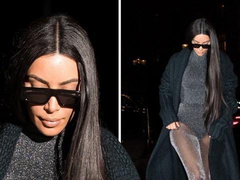 Kim Kardashian cares not for comfort as she rocks shiny, sheer bodysuit in Paris
