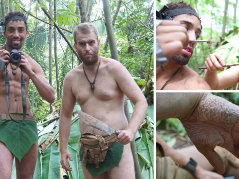 Survival junkies strip naked and eat bugs in the rainforest for three weeks