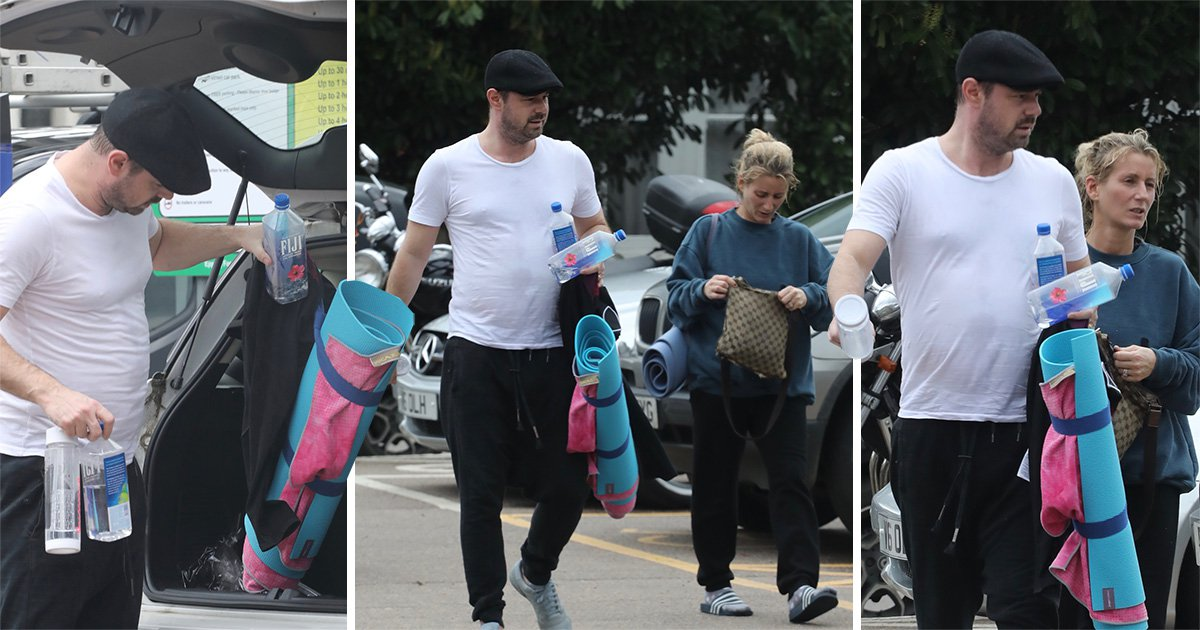 Danny Dyer juggles way too many water bottles as he zens out in couple's yoga with wife Joanne Mas