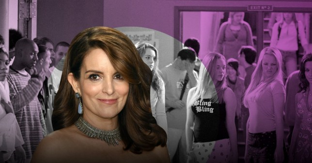 Tina Fey and Mean Girls backdrop