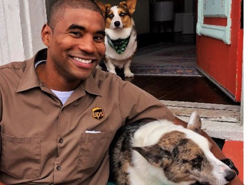 UPS driver cuddles up to dogs on his route every week and our hearts are melting