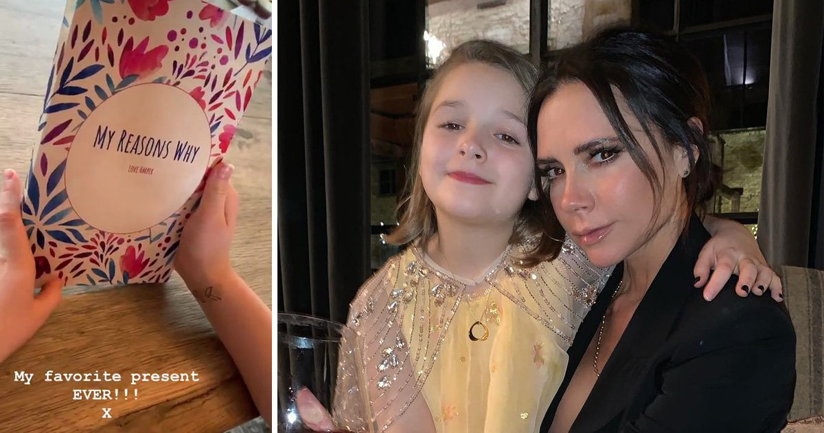 Harper Beckham wins at Mother's Day as she writes sweet book of love for mum Victoria