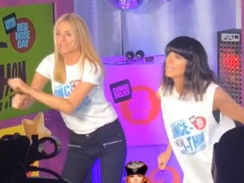 Tess Daly screams in fear as she narrowly avoids disaster during Comic Relief danceathon