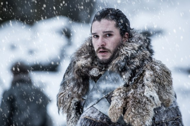 Kit Harington as Jon Snow in Game of Thrones as snow falls